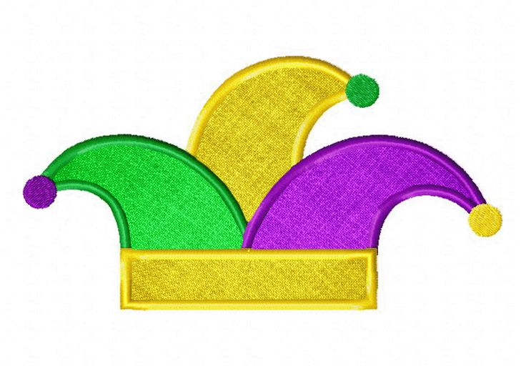 Mardi Gras Jester Hat Available In Both Applique and Stitched FREE on 02-16-2015 ONLY
