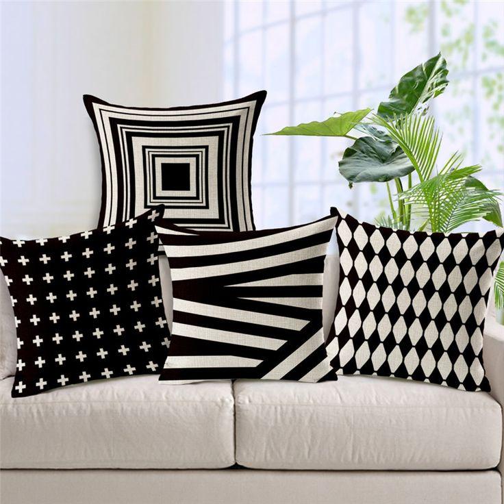 pas cher 18 carr noir blanc g om trique housse de. Black Bedroom Furniture Sets. Home Design Ideas