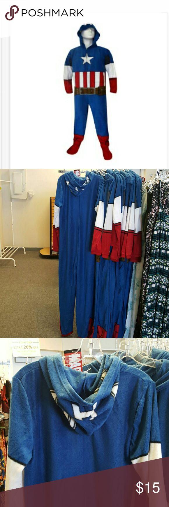 Capital America Pajamas Men's Loungewear- Footie Pajamas .... Marvel Comics Captain America Hooded Masked Onesie Pajama. Marvel Other