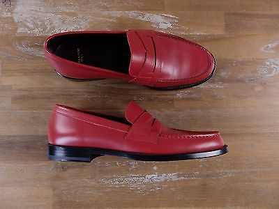auth SAINT LAURENT red penny loafers shoes - Size 7.5 US / 6.5 UK / 40.5 EU