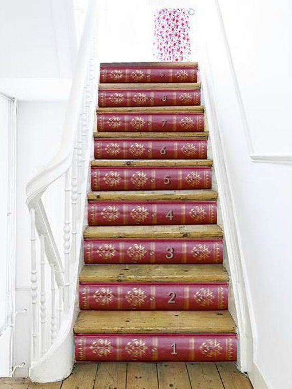 Best Vintage Books Stairs Decoration Adhesive Stair Riser 400 x 300