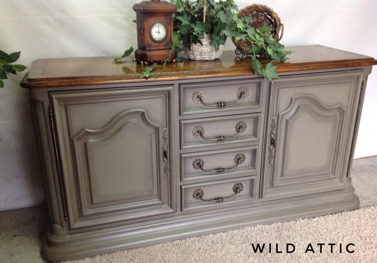 Gorgeous buffet / tv console / entry cabinet.  Hand painted with Beachwood by Chalky Chicks Furniture Paint with a dark wax finish.
