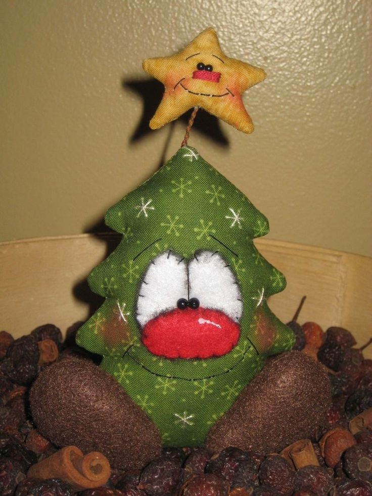 PRIMITIVE HC CHRISTMAS HOLIDAY TREE SHELF SITTER DOLL BOWL FILLER ORNIE #Country