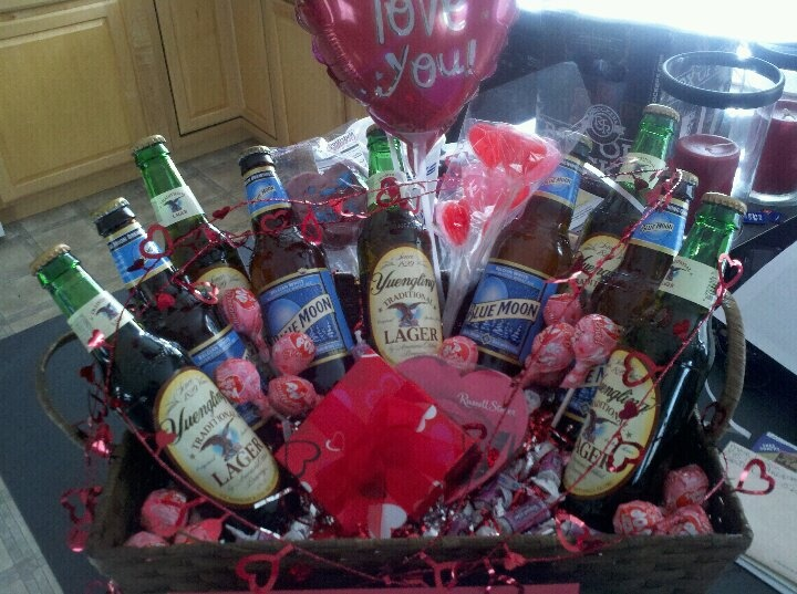 Beer basket I made for the hubby for Valentines Day | Eat, Drink & Be Merry! | Birthday gift baskets, Valentine gifts, Valentines day baskets