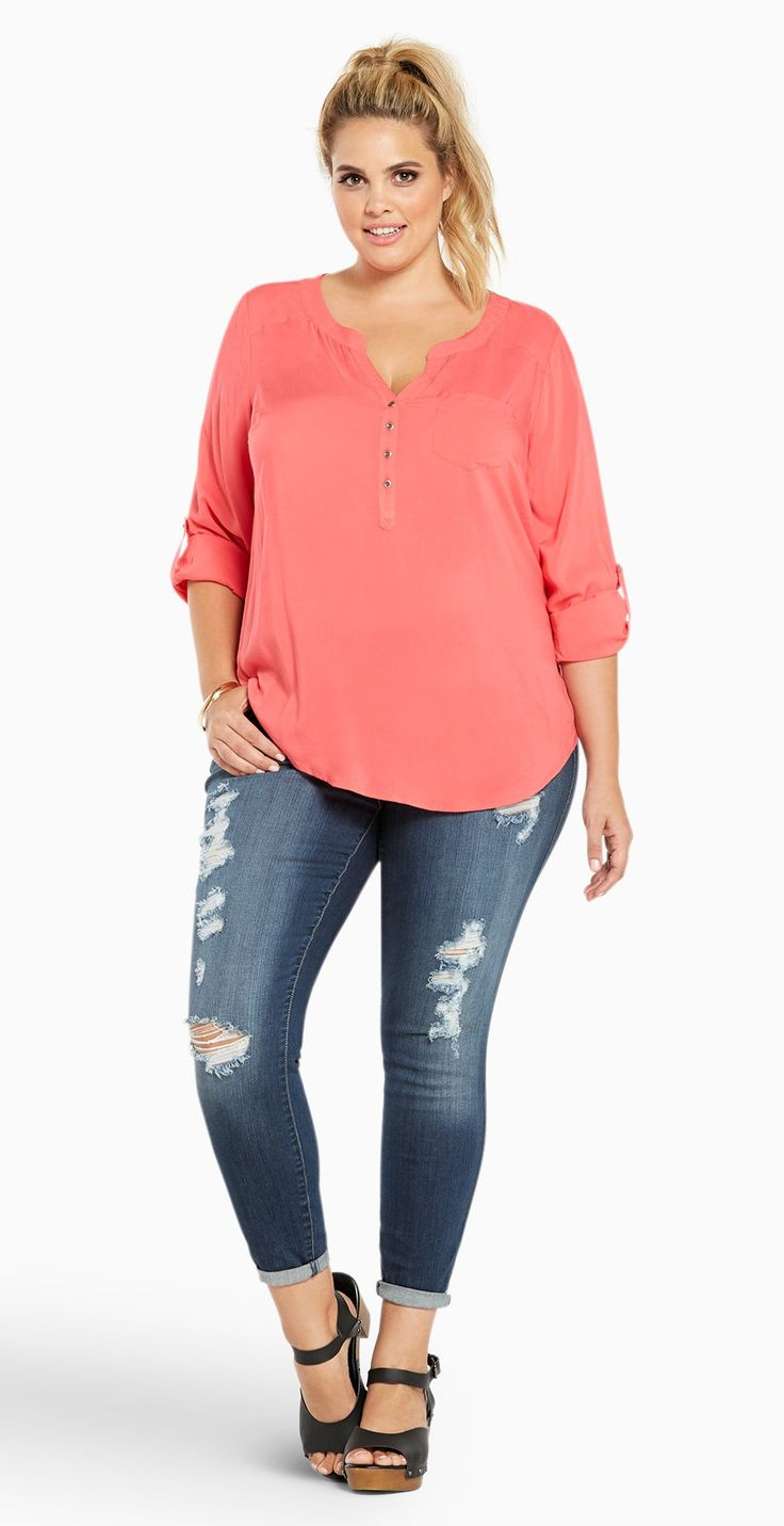Plus Size Challis Pullover Top