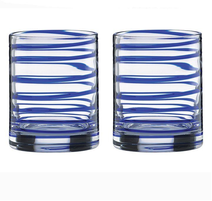 Kate Spade Charlotte Street Spiral Double Old Fashioned Glass Pair