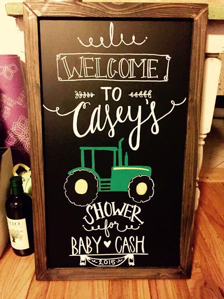 Custom baby shower chalkboard sign. John Deere. By @thecraftingcasa