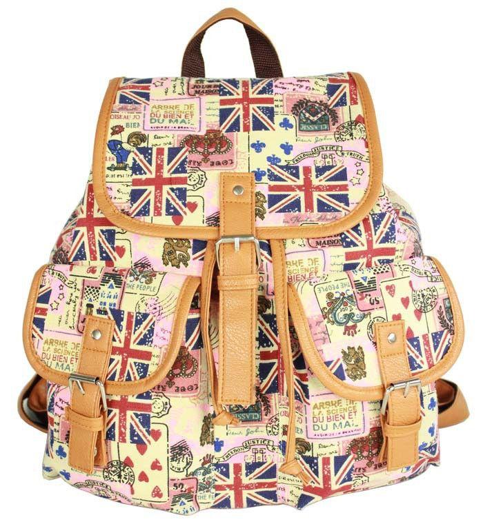 Ethnic Print Belt Buckled Cool Backpack Travel Bag