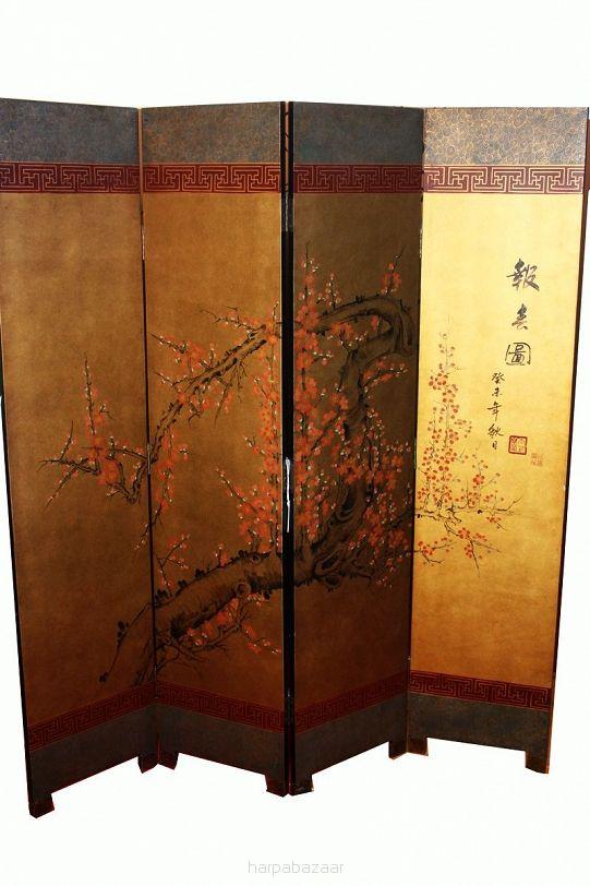 Parawan złocony 4-panalowy - Harpa Baazar: meble orientalne, polaszek, antyczne, meble z litego drewna, dekoracje ceramiczne do mieszkania, stoły ręcznie robione, misy z drewna tekowego