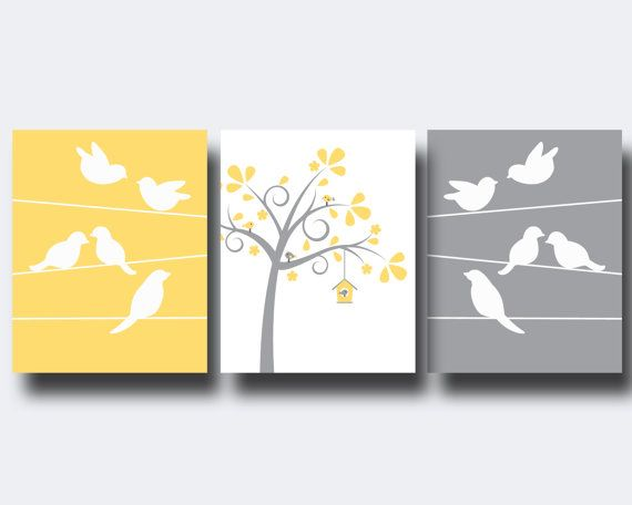 Bird Nursery Wall Art Print Bird and Trees Wall Art by HopAndPop, $28.00