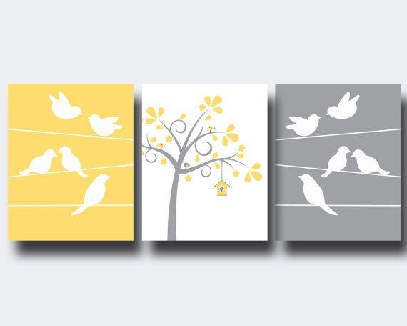 Bird Nursery Wall Art Print Bird and Trees Wall Art by HopAndPop, $28.00
