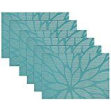 Kitchen decorating ideas - set of 6 kitchen placemats set of 6 in Lotus leaf pattern, blue. Visit us for more information and where to buy.