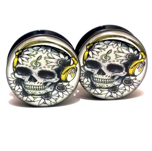 Find More Body Jewelry Information about Wholesale 20PCS/Lot  Black UV Acrylic Ear Plugs Screw Fit Ear Gauges Plugs   Skull & Headphones Logo  Mix 10 Sizes 6MM 25MM,High Quality screw battery,China screw bracelet Suppliers, Cheap headphones workout from DreamFire Store on Aliexpress.com
