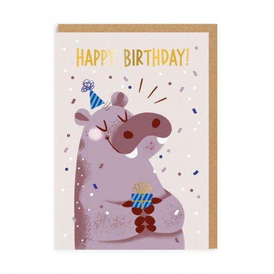 Happy Birthday Hippo Greeting Card Ohh Deer Birthday Illustration Happy Birthday Illustration Greeting Card Inspiration