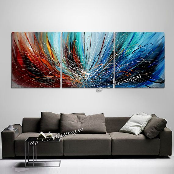 Triptych Large Wall Art ABSTRACT PAINTING Acrylic Wall Decor Red Drip Abstract Paintings Canvas Art Contemporary & 28 best paintings images on Pinterest | Canvases Abstract art and ...