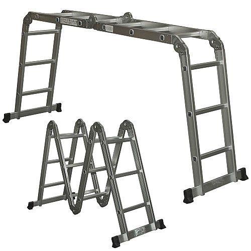 Aluminum Extension Step Ladder Multi-Position Folding 12 Steps A Frame Ladder  #SmartDealsMarket