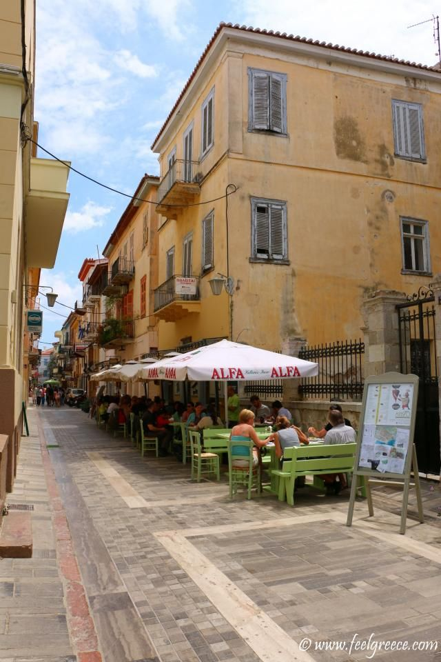 Fast food street in the old town; photo from Nafplio, Argolis Region