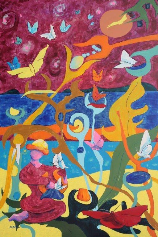 """""""Genèse aux Salins de Hyères-papillons"""" acrylique sur toile 92x65. arlettebeal.com  et arlette-beal.fr"""
