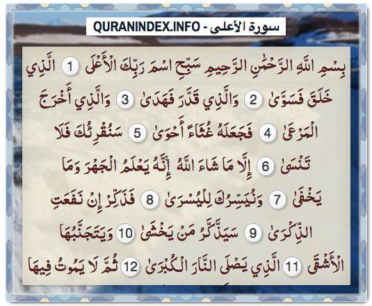 Browse, Read, Listen, Download and Share #Surah Al-A'laa [87] @ https://quranindex.info/surah/al-alaa #Quran #Islam