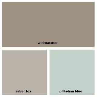 Benjamin Moore Colour Palette - dark taupe (weimaraner), warm medium gray (silver fox), light aqua (palladian blue)
