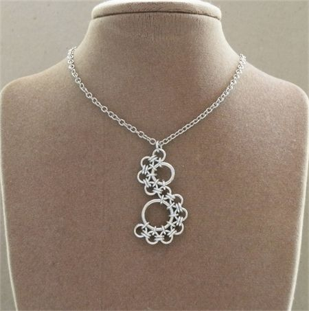 Chainmaille Half Spiral Pendant, Japanese 12 in 2 Weave