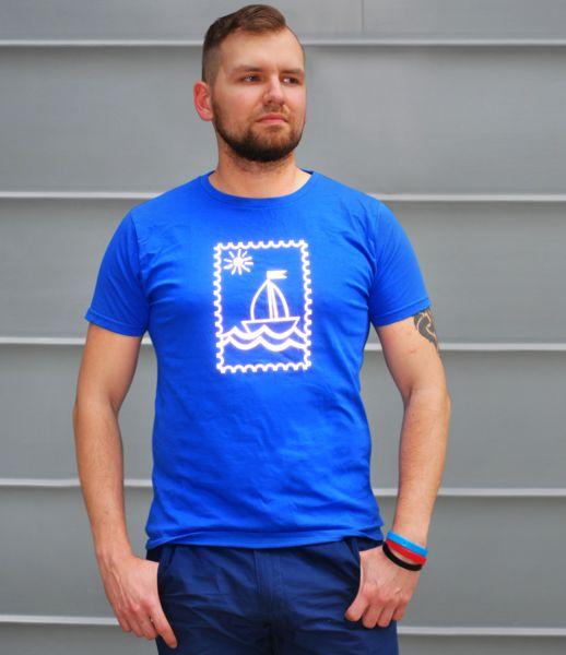 odblaskowy t-shirt znaczek pocztowy - Odblaskomat - Koszulki z aplikacją