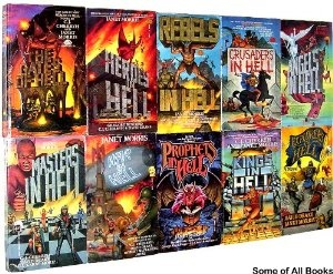 Heroes in Hell, the classic series, created by Janet Morris  All unfortunately out of print. If you want to see them reprinted, talk to the writers whose stories are included. Tell them to talk to Janet. If everyone gets on board, it is possible they'll come back to print!