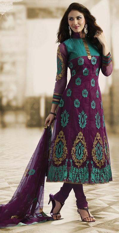 $66.36 Purple Net Long Embroidery Anarkali Salwar Suit 23989