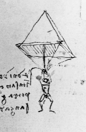 Leonardo da Vinci discussed the parachute in a notebook entry now contained in…