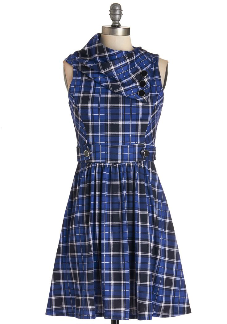 Coach Tour Dress in Blue Plaid. Sometimes a dress is so magical, it makes you long for somewhere special and new to wear it. #blue #modcloth