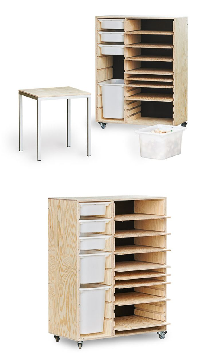 Materiale- og udstillingsreol til børn. Udført i solidt fyrre-krydsfiner. Tilpasset til Trofast opbevaringskasser fra IKEA.  Se det på WWW.PALMELUND.EU  - Great supply cabinets for kids. Made from pine plywood. Custom made to fit IKEA Trofast storage box. See it on www.palmelund.eu