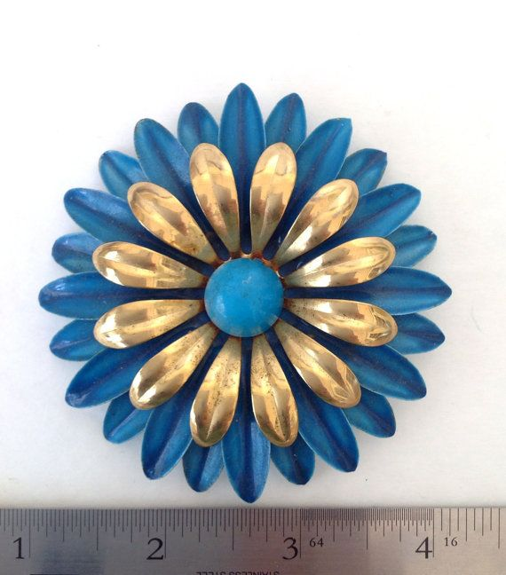 Big Blue and Gold Enamel Flower Daisy Brooch by HoldAndHaveVintage