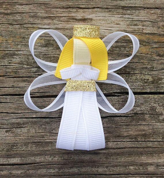 Angel Ribbon Sculpture Hair Clip - Toddler Hair Bows - Christmas Hair Bows - Holiday Hair Clips.. Free Shipping Promo