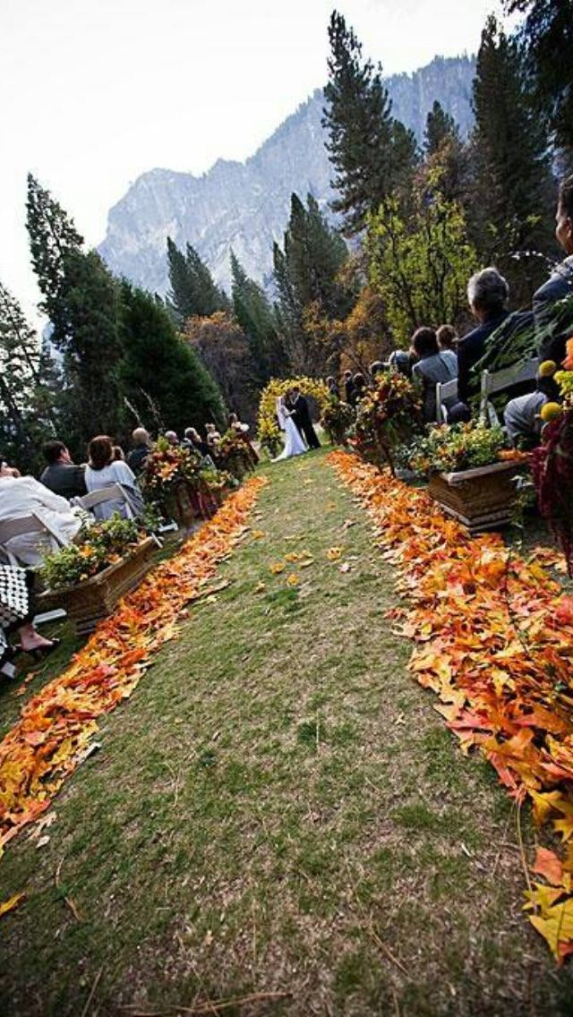 Leaves lining the aisles during the ceremony! I think this would be lovely with white chairs with small, flat, round sections of tree branches with all the 'Love Is...' of Corinthians 13.