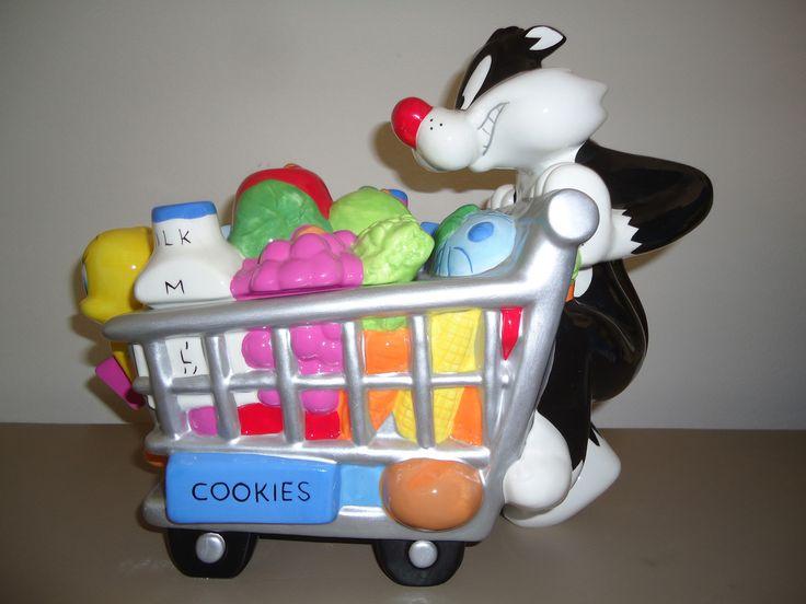 Sylvester and Tweety Shopping Cart Cookie Jar, Warner Bros, 2000 | eBay