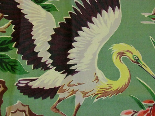 Deco Floridian Birds Vintage Barkcloth