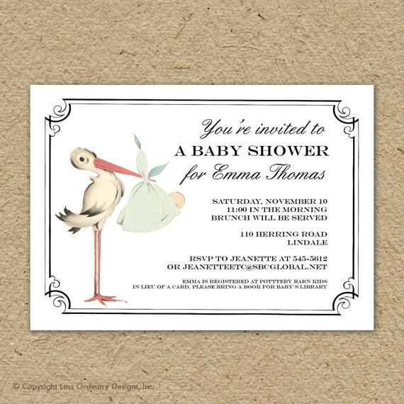 vintage stork baby shower invitation, baby boy or baby girl