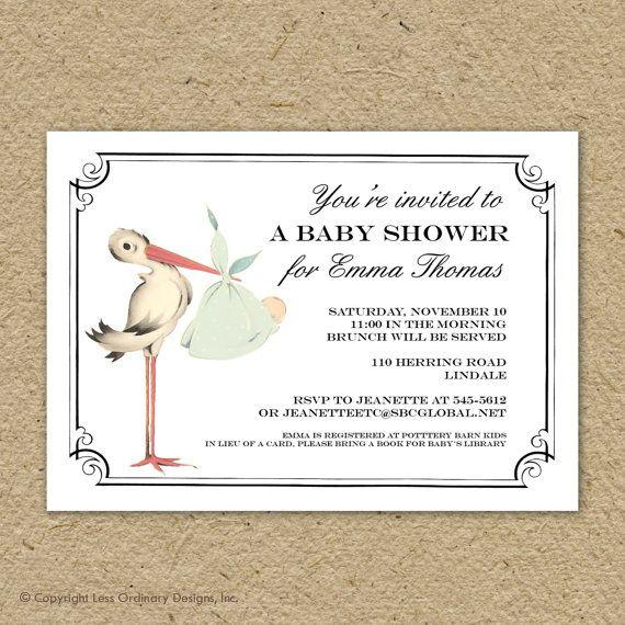 Stork baby shower invitation, gender neutral, special delivery shower, printable stork baby shower
