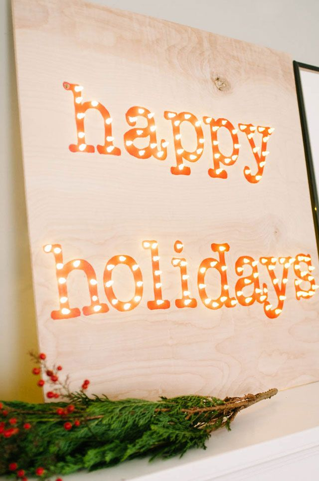 DIY Happy Holidays Marquee Sign by The