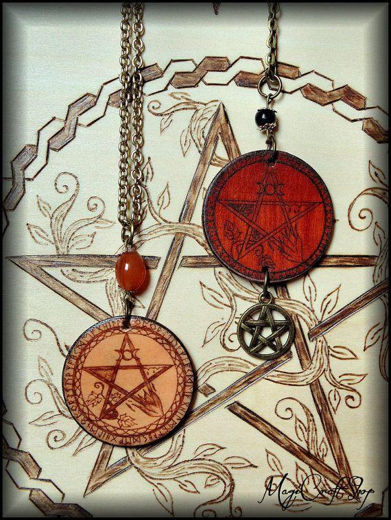 PENTACLE ELEMENTS medallion laminated on wood by magicraftshop