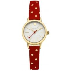 Johnny Loves Rosie Red and Gold Polka Dot Strap Mini Dial Watch