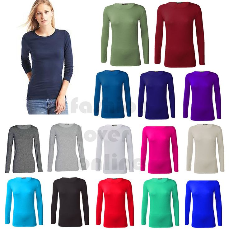 Women Basic Long Sleeve Plain Round Neck Ladies Stretch Plus Size Top T Shirt