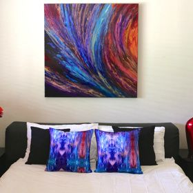 'Hope' Original painting ($1800) and 'Here Comes the Rain' Art Cushion. Designs to encourage and inspire you to love what you live with. http://coloursofhope.com.au/store?category=cushion