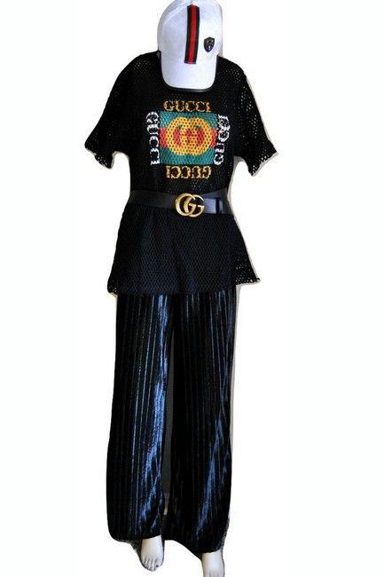 83e96a50a0f Gucci Black Logo G G Fishnet Tee Shirt Size Petite 12 (L). Free shipping  and guaranteed authenticity on Gucci Black Logo G G Fishnet Tee Shirt Size  Petite ...