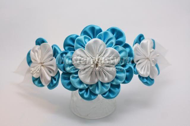 Ободок «Бирюзовые цветы». Мастер класс с пошаговыми фото