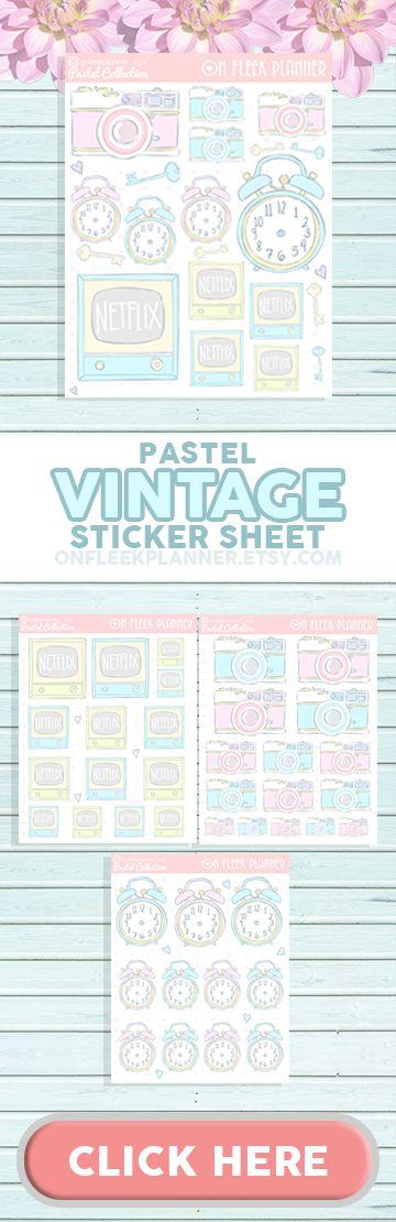 Pastel Vintage Collection Sticker Sheet ( Vintage Alarm Clock, Camera TV and Keys)