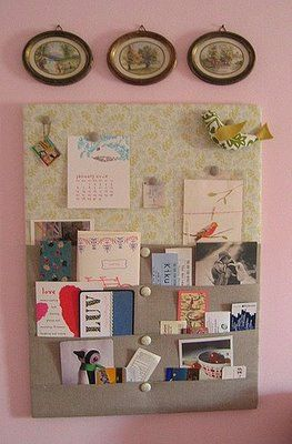 Create your own canvas/fabric display/notice board with pockets for small  items & plastic sleeves to display photos. Corkboard Ideas ...