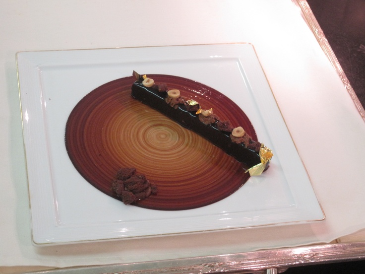 """The one that got away. :(  Out of all Laurent Jeannin's luscious desserts, I never got to try this one.  I believe something that melted must have gone in the middle of the """"chocolate record"""" just before served, but my notes and photos don't reveal what."""