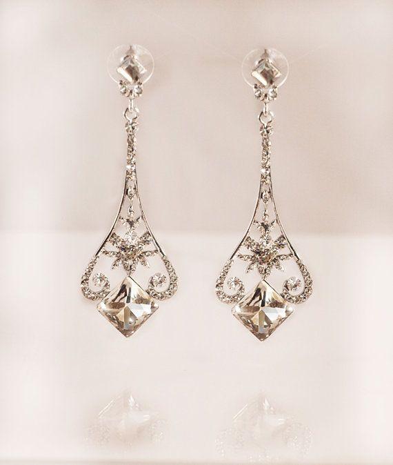 bridal crystal earring wedding crystal art deco by gadegaarddesign, $45.00