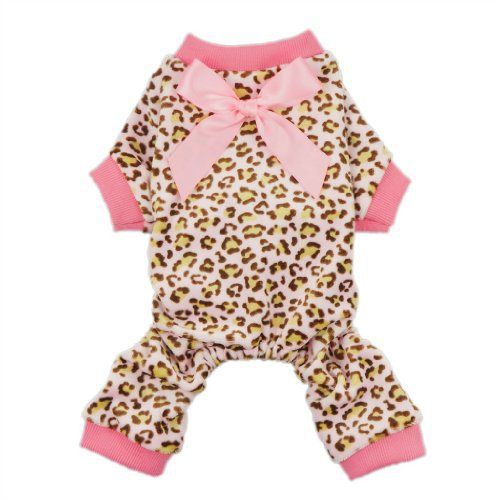 Fitwarm® Leopard Ribbon Soft Velvet Dog Pajamas for Pet Dog Clothes Comfy Pjs, Medium - http://www.thepuppy.org/fitwarm-leopard-ribbon-soft-velvet-dog-pajamas-for-pet-dog-clothes-comfy-pjs-medium/